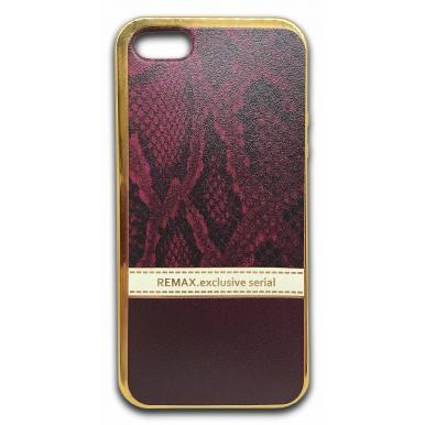 Силиконовый чехол Remax бордовый питон для iPhone 5/5s/SE